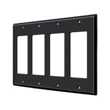 Switch Plate, Quadruple Rocker - Paint Black