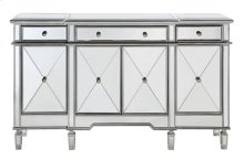 """3 Drawer 4 Door Cabinet L60""""W14""""H36"""" Silver Clear"""