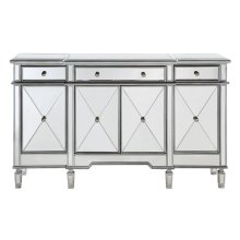 "3 Drawer 4 Door Cabinet L60""W14""H36"" Silver Clear"