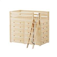 High Loft w/ Angle Ladder, 2 x5 Drawer Dressers & Narrow 5 Drawer Dresser : Twin : Natural : Slat