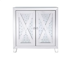 28 in clear crystal mirrored two door cabinet