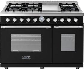Range DECO 48'' Classic Black matte, Chrome 6 gas, griddle and 2 gas ovens