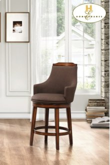 Swivel Counter Height Chair, Chocolate Fabric