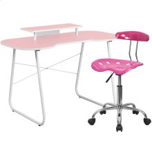 Pink Computer Desk with Monitor Platform and Tractor Chair