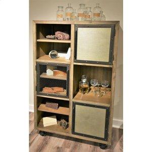 RiversideLiam - Caster Bookcase - Gray Acacia/galvanized Metal Finish