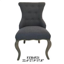 Harrison Grey Linen Upholstered Accent Chair with Distressed Wood Legs
