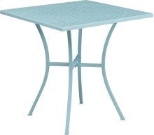 28'' Square Sky Blue Indoor-Outdoor Steel Patio Table