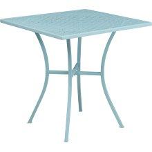28'' Square Sky Blue Indoor-Outdoor Steel Patio Table