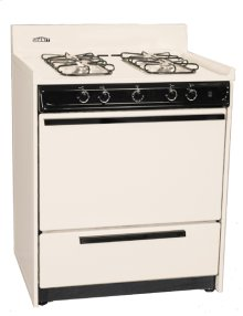 """Bisque gas range with sealed gas burners and electronic ignition in 30"""" width"""