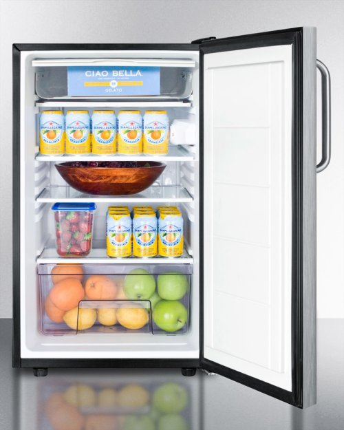 "Commercially Listed ADA Compliant 20"" Wide Freestanding Refrigerator-freezer With A Lock, Stainless Steel Door, Towel Bar Handle and Black Cabinet"