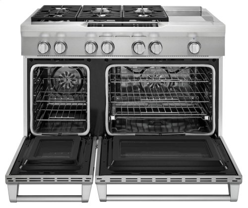 48'' 6-Burner with Griddle, Dual Fuel Freestanding Range, Commercial-Style - Stainless Steel