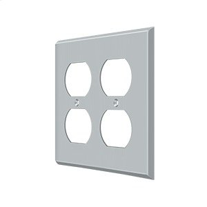 Switch Plate, Quadruple Outlet - Brushed Chrome