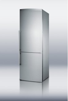 "Counter depth bottom freezer refrigerator in slim 24"" width, with stainless steel doors"