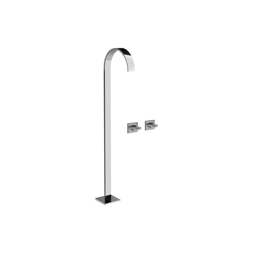 Sade Floor-Mounted Tub Filler w/Wall-Mounted Handles