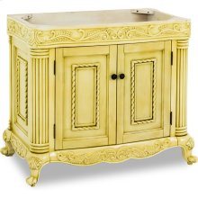 """39"""" vanity with antique white finish and hand-carved botanical and rope details with framed with reed-style columns."""