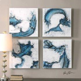 Swirls In Blue, S/4