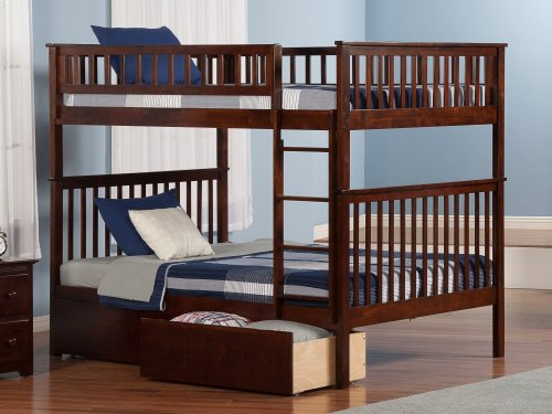 Woodland Bunk Bed Full over Full with Urban Bed Drawers in Walnut