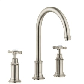 Brushed Nickel 3-hole basin mixer 180 with cross handles and pop-up waste set