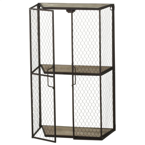 Two Door Chicken Wire Wall Shelf