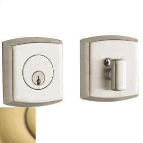 Satin Brass and Brown Soho Deadbolt