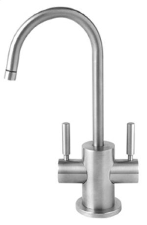 Hot & Cold Water Faucet with Contemporary Round Body & Handles - Brushed Nickel Product Image