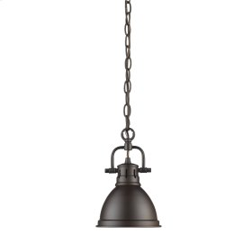 Duncan Mini Pendant with Chain in Rubbed Bronze with a Rubbed Bronze Shade