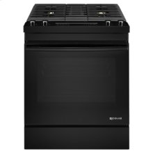 "Black Floating Glass30"" Dual-Fuel Downdraft Range"
