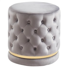 Delilah Round Swivel Ottoman in Grey & Gold