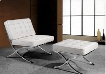 "Divani Casa Bellatrix - Modern White Leather ""X"" Leg Chair & Ottoman Lounge Set"