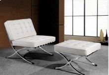 """Divani Casa Bellatrix - Modern White Leather """"X"""" Leg Chair & Ottoman Lounge Set"""