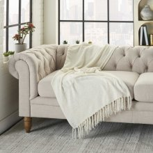 Outdoor Throws Ih018 Ivory 50 X 60 Throw Blanket