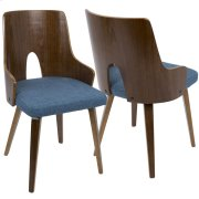 Ariana Dining Chair - Walnut / Blue Product Image