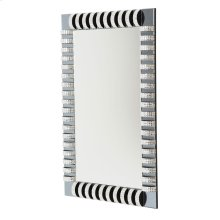 Rect. Wall Mirror With Crystal and Glass