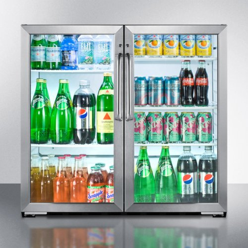 Commercial back bar beverage center for freestanding use, with self-closing French doors and stainless steel cabinet