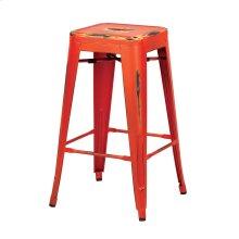 """Bristow 26"""" Antique Metal Barstool, Antique Orange Finish, 4 Pack"""