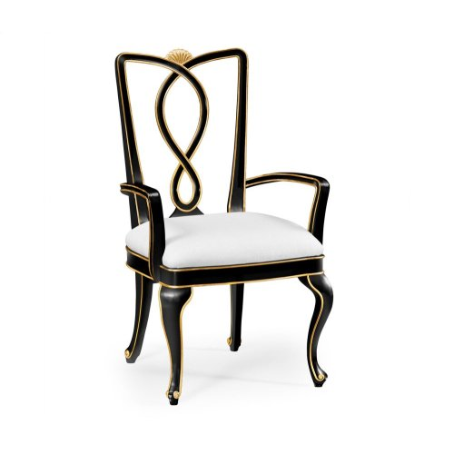 Black Painted Dining Armchair - COM