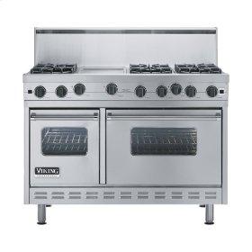 "Stainless Steel 48"" Open Burner Range - VGIC (48"" wide, six burners 12"" wide griddle/simmer plate)"