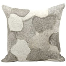 """Natural Leather Hide C4600 Silver 1'8"""" X 1'8"""" Throw Pillow"""
