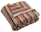 CANDY STRIPE KNIT THROW - Orange / Light Grey / Dark Grey Product Image