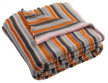 CANDY STRIPE KNIT THROW - Orange / Light Grey / Dark Grey