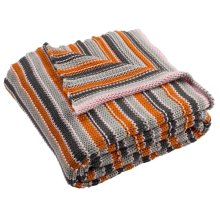 Candy Stripe Knit Throw - Orange/light Grey/dark Grey