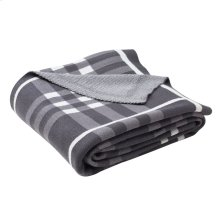 UNITY GINGHAM KNIT THROW - Dark Grey / Medium Grey / Ivory