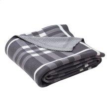 Unity Gingham Knit Throw - Dark Grey / Medium Grey / Ivory