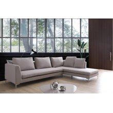 Divani Casa Austell Modern Grey Fabric Sectional Sofa