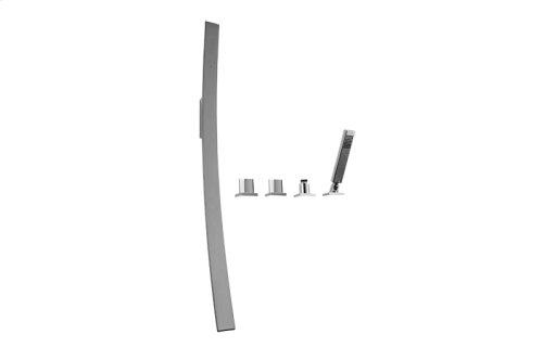 Luna Wall-Mounted Tub Filler w/Deck-Mounted Handles & Handshower Set