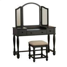 Vanity and Square Bench Black