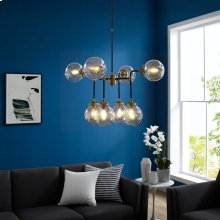 Ambition Amber Glass And Antique Brass 8 Light Pendant Chandelier