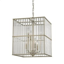 Ridley 6-Light Chandelier in Aged Silver with Oval Glass Rods