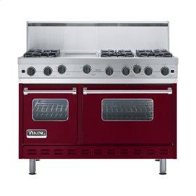 """Burgundy 48"""" Open Burner Range - VGIC (48"""" wide, six burners 12"""" wide griddle/simmer plate)"""