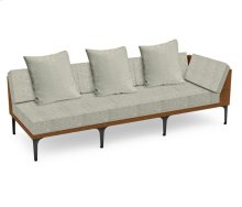 "98"" Tan Rattan Left Three-Seat Sofa Sectional, Upholstered in Standard Outdoor Fabric"